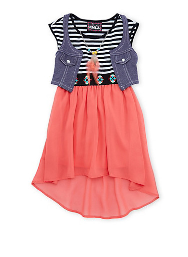 Girls 4-6x Knit Vest and High-Low Dress Set with Necklace,CORAL,large