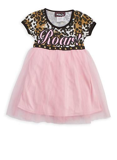 Girls 4-6x Roar Mesh Dress,PINK,large