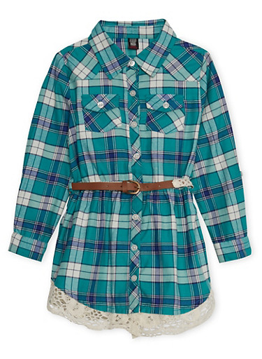 Girls 4-6x Plaid Button-Down Shirt Dress with Belt and Crochet Trim,GREEN,large