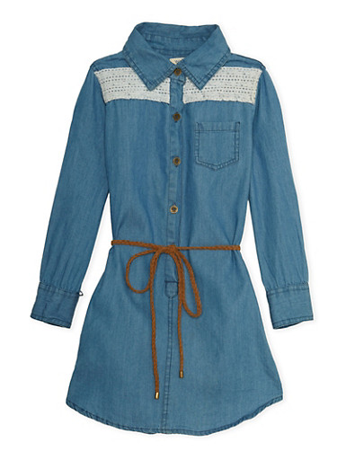 Girls 4-6x Belted Denim Shirt Dress with Crochet Yoke,MEDIUM WASH,large