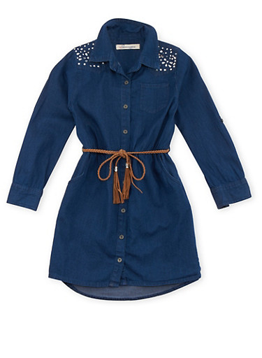 Girls 4-6x Denim Shirt Dress with Studs,DARK WASH,large