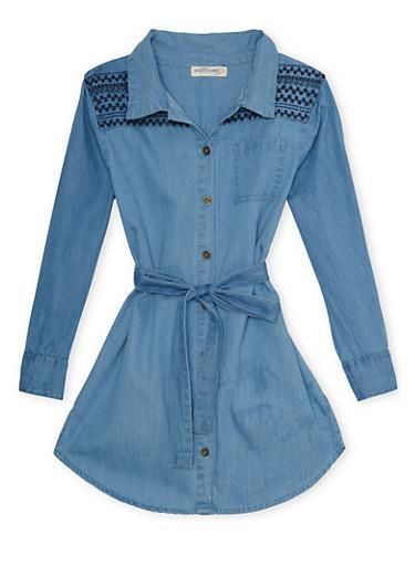 Girls 4-6x Denim Shirt Dress with Embroidery,MEDIUM WASH,large