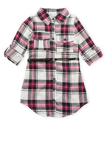 Girls 4-6x Plaid Button Down Shirt Dress with Belt,BLK/WHT,large