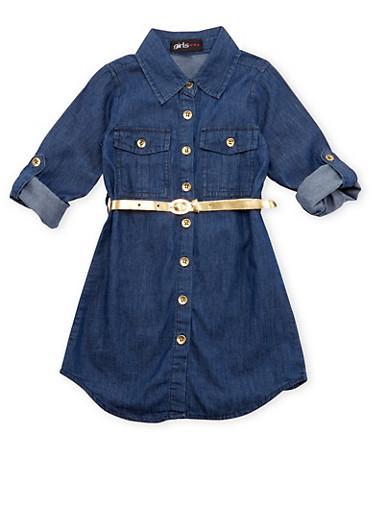 Girls 4-6x Denim Shirt Dress with Removable Belt,DENIM,large