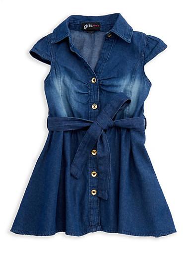 Girls 4-6x Short Sleeve Button Front Denim Dress with Tie Waist,DENIM,large