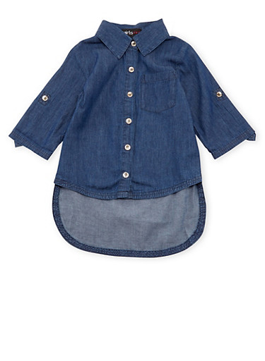 Girls 4-6x Chambray Top with High-Low Hem,DENIM,large