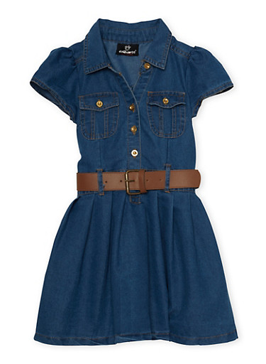 Girls 4-6x Belted Denim Dress with Pleated Skirt,LIGHT WASH,large