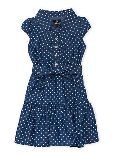 Girls 4-6x Heart Print Chambray Dress,LIGHT WASH,large