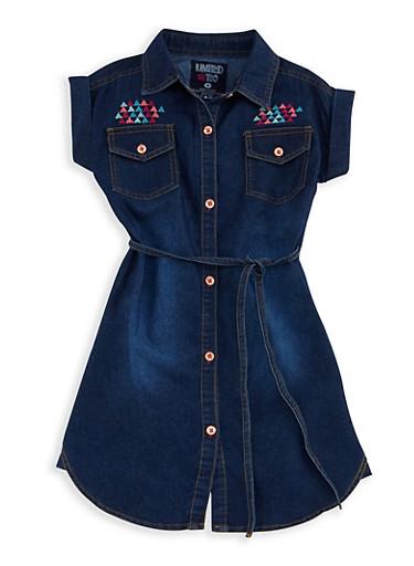 Girls 4-6x Limited Too Embroidered Denim Shirt Dress,DARK WASH,large