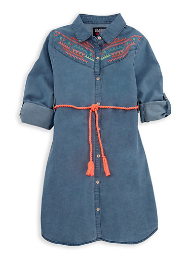 Girls 4-6x Limited Too Embroidered Belted Shirt Dress,LIGHT WASH,large