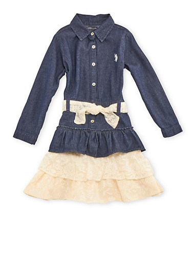 Girls 4-6x Denim Shirt Dress with Tiered Lace Hem,DARK WASH,large