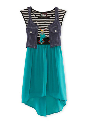 Girls 7-14 Striped and Chiffon High-Low Dress with Denim Vest and Feather Necklace,JADE,large