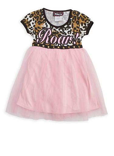 Girls 7-14 Roar Mesh Dress,PINK,large