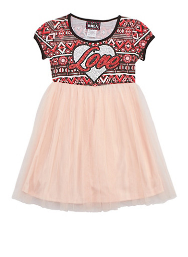 Girls 7-14 Love Mesh Dress,CORAL,large