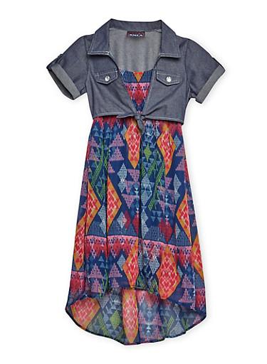 Girls 7-16 Printed High Low Dress,NAVY,large
