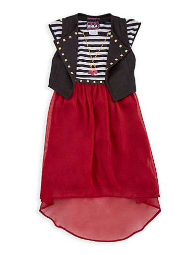 Girls 7-16 Striped Tank Dress with Knitted Vest,MAROON,large