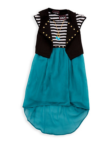 Girls 7-14 Striped Tank Dress with Knitted Vest,JADE,large