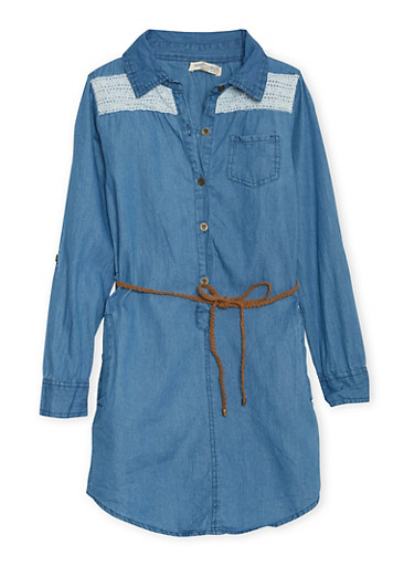 Girls 7-16 Belted Denim Shirt Dress with Crochet Panels,MEDIUM WASH,large