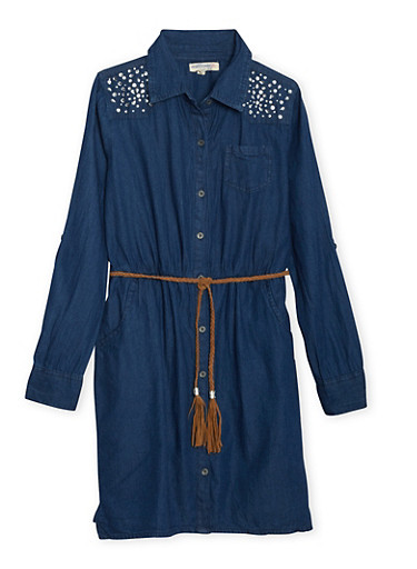 Girls 7-16 Chambray Shirt Dress with Crystal Shoulders,DARK WASH,large