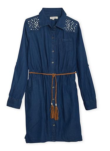 Girls 7-16 Chambray Shirt Dress with Crystal Shoulders,DARK WASH,large