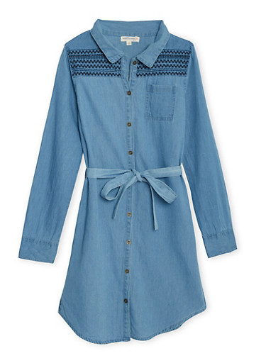 Girls 7-16 Chambray Shirt Dress with Embroidered Shoulders,MEDIUM WASH,large