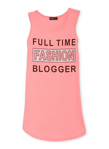 Girls 7-16 Tank Dress with Full Time Fashion Blogger Graphic,NEON PINK,large