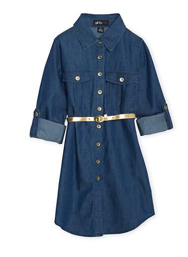 Girls 7-16 Denim Shirt Dress with Belt,DENIM,large