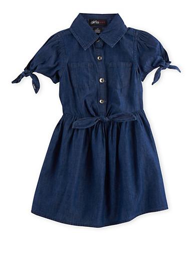 Girls 7-16 Denim Dress with Fixed Ties,DENIM,large