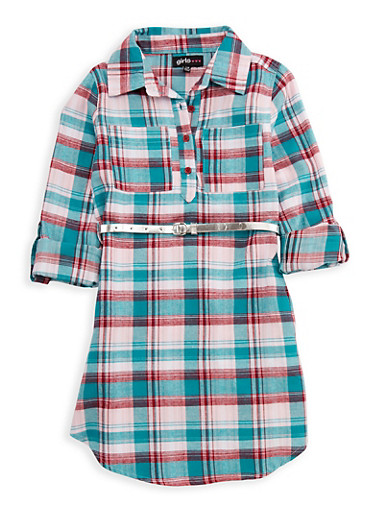 Girls 7-16 Belted Plaid Shirt Dress,JADE,large