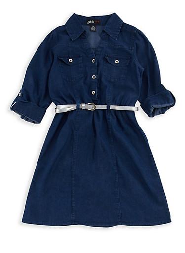 Girls 7-16 Denim Belted Dress,DENIM,large