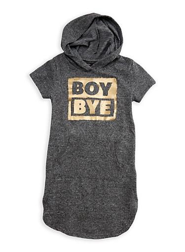 Girls 7-16 Boy Bye Graphic Hooded Dress,CHARCOAL,large