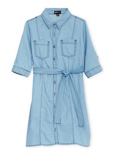 Girls 7-16 Chambray Shirt Dress with Waist Tie Cinch,MEDIUM WASH,large