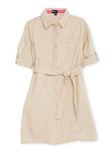 Girls 7-16 Shirt Dress with Waist Tie Cinch,KHAKI,large