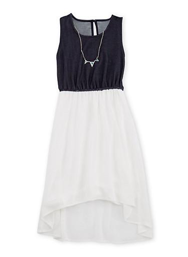 Girls 7-16 Chiffon Denim Knit Dress with Necklace,IVORY,large