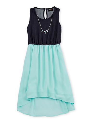 Girls 7-16 Chiffon Denim Knit Dress with Necklace,AQUA,large