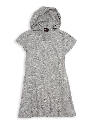 Girls 7-16 Hooded Rib Knit Shift Dress,HEATHER,large