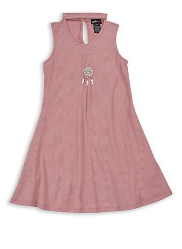 Girls 7-16 Sleeveless Ribbed Knit Dress with Detachable Necklace,MAUVE,large