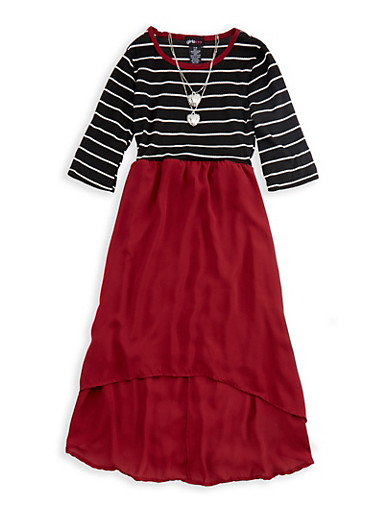 Girls 7-16 Long Sleeve Striped Chiffon Skirt Dress with Detachable Necklace,WHT/BLK/WINE,large