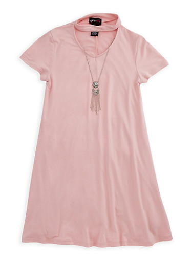 Girls 7-16 Choker T Shirt Dress with Necklace,MAUVE,large