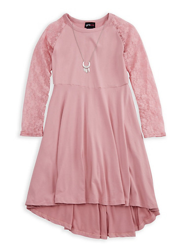Girls 7-16 Lace Sleeve Dress with Detachable Necklace,MAUVE,large