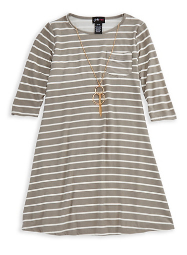 Girls 7-16 Long Sleeve Striped Dress with Detachable Necklace,HEATHER,large