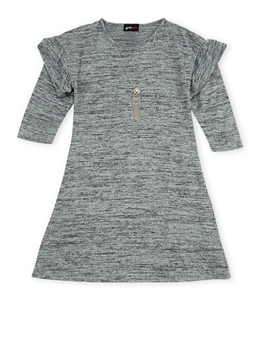 Girls 7-16 Marled Dress with Necklace,HEATHER,large