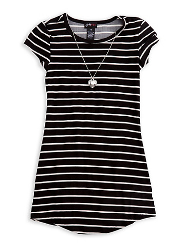 Girls 7-16 Short Sleeve Striped Dress with Detachable Necklace,BLACK/WHITE,large