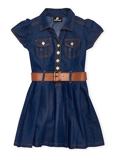 Girls 7-16 Belted Denim Dress with Pleated Skirt,MEDIUM WASH,large