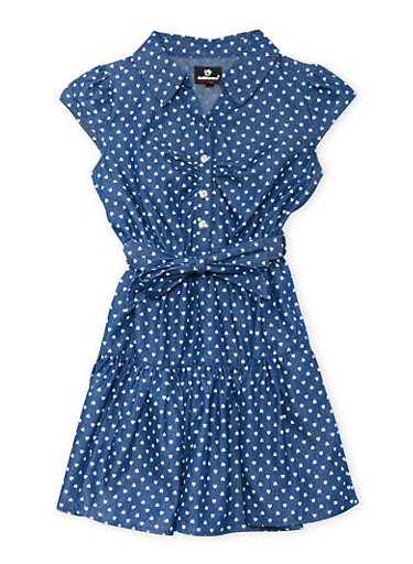Girls 7-16 Chambray Dress with Heart Print,LIGHT WASH,large