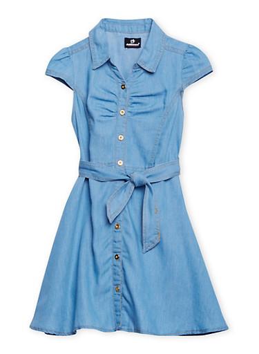 Girls 7-16 Belted Denim Shirt Dress,LIGHT WASH,large