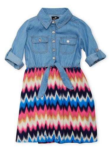 Girls 7-16 Chambray and Chevron Print Dress,LIGHT WASH,large