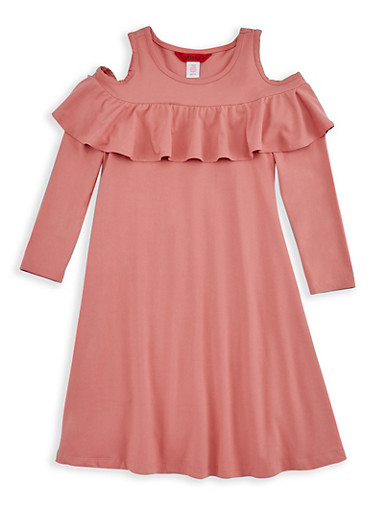 Girls 7-16 Long Sleeve Cold Shoulder Ruffled Dress,BLUSH,large