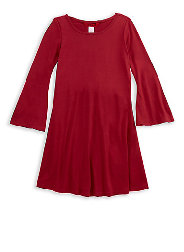 Girls 7-16 Soft Knit Skater Dress with Bell Sleeves,CRANBERRY,large
