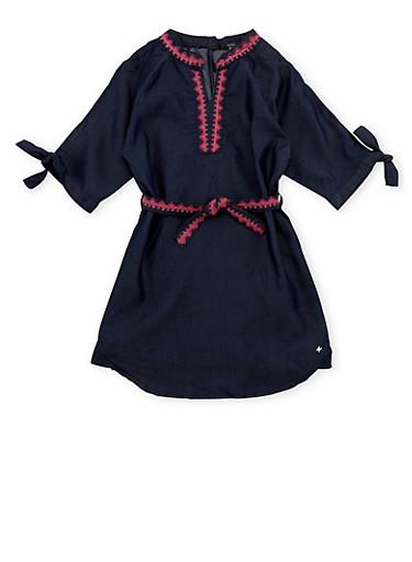 Girls 7-16 Kensie Belted Cold Shoulder Denim Dress,DARK WASH,large